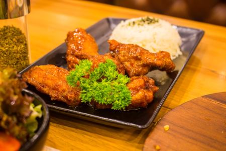 The Korean Style Chicken Wings With Rice