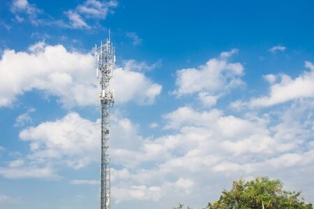 The Communication tower technology and blue sky.