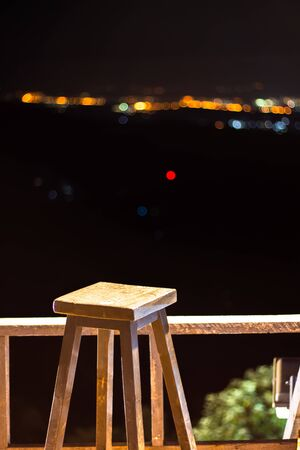 night landscape in Chiang mai Thailand, Chairs on the terrace for observation
