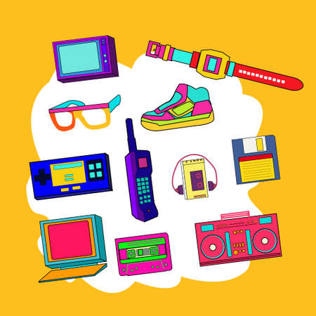 Nostalgia of 90's products such as wrist watch, television set, radio, flop disk, colorful shoes and sunglasses, cassette etc.