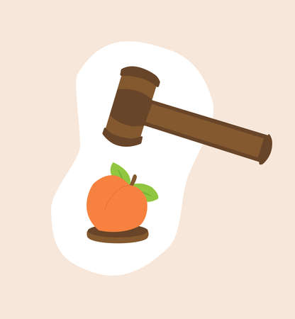 A justice hammer is about to crush a peach fruit, a symbolic representation of impeachment Illusztráció