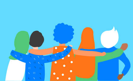 Flat illustration about friendship, bond and togetherness without any difference. Some teenager boy and girls back side is seen, each of them put their hand in others shoulder. Diversity and inclusion can be seen