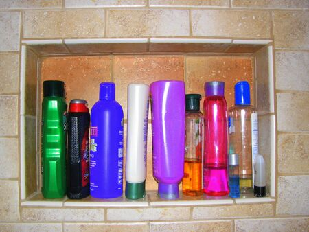 Shampoo bottles in the Shower Stock Photo - 1551697