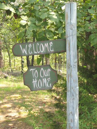 our: welcome to our home sign fence post