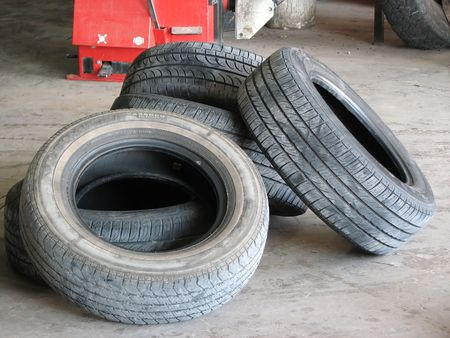 tyre tread: Pile used worn out used tires  ready to be recycled Stock Photo