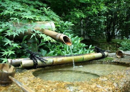 japones bambu: Una fuente de bamb� japon�s  Foto de archivo