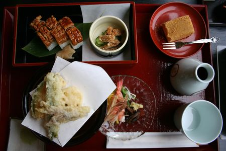 bento: a tempura,hamo sushi and dessert bento set