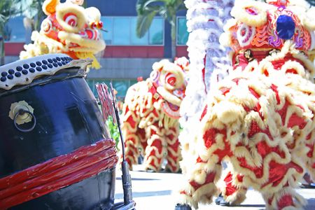 Gong: Chinese new year lion Stock Photo