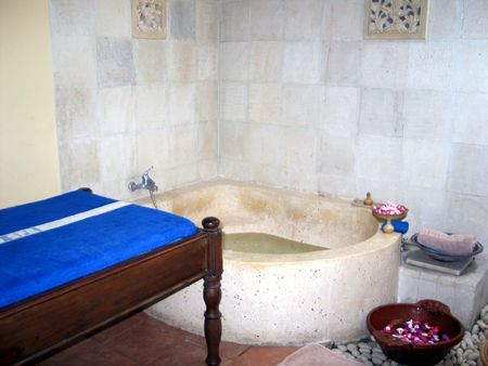a shot inside a Balinese spa Stock Photo