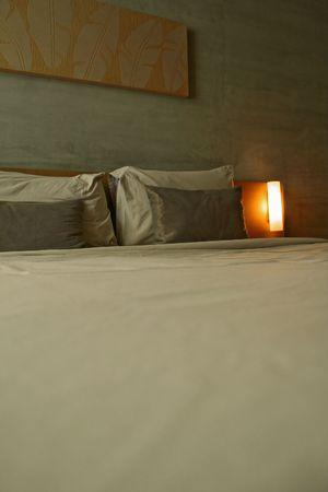vacate: a hotel bedroom Stock Photo
