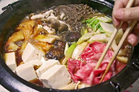 ready to eat: Sukiyaki ready to eat Stock Photo