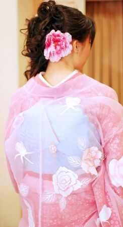japanese kimono: a Japanese lady wearing a pink formal outfit (kimono) with flower patterns