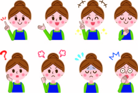 Housewife Facial Expression Set  イラスト・ベクター素材
