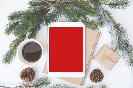 Christmas desk table space layout design style background festival tablet red isolated layout center on brown book near coffee cup