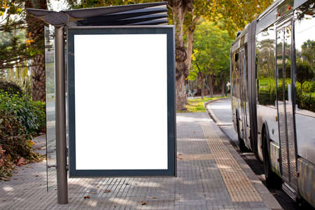 Blank advertising billboard mockup and template or light billboards with copy space for text or message and media content, Blank shadow billboards with display on city wall background with bus