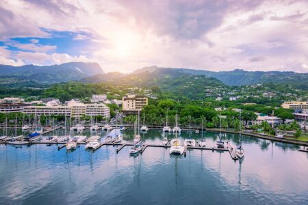 Boats and yachts in harbor town of Papeete, Tahiti.
