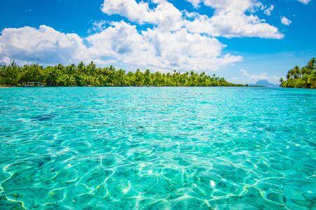 Tahaa Island. Tropical seascape paradise with palm trees.
