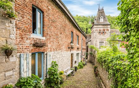 Oldest narrow and paved cobblestone street in Durbuy, Belgium.