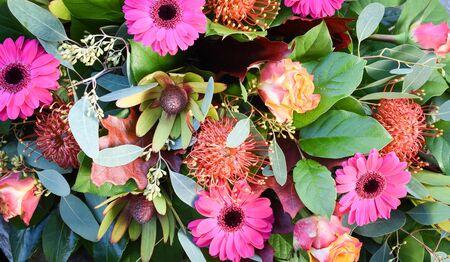 Bouquet of fresh magenta and orange flowers. Фото со стока - 149892210