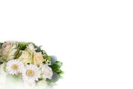 Bouquet of white flowers isolated on white background.