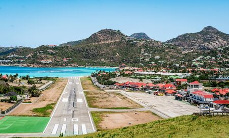 Landscape with village and runway of St Jean on the Caribbean island of Saint Barth lemy (St Barts).