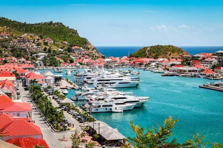 Gustavia, St Barts. Luxury yachts in harbor, West Indies, Caribbean. Фото со стока
