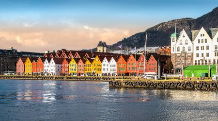 Bergen, Norway. Panoramic city and harbor view with traditional wooden houses of Bryggen.
