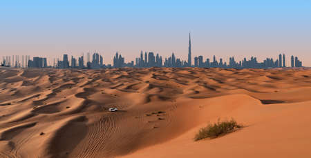 Dubai skyline and desert landscape.