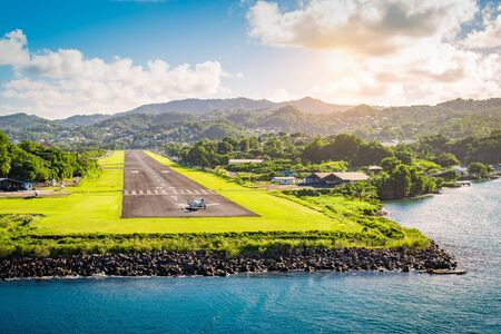 Landscape with runway of St Lucia, Caribbean