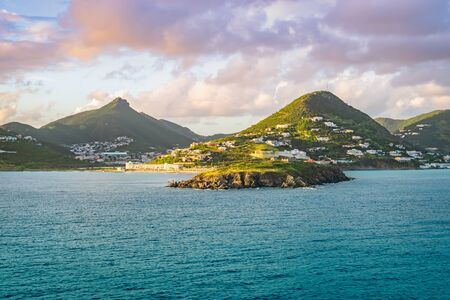 Philipsburg, St Maarten. Sea and mountain landscape at sunset.