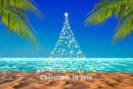 Abstract Christmas tree with twinkling stars design on a tropical beach with palm leaves. Christmas in July poster or card background. Фото со стока