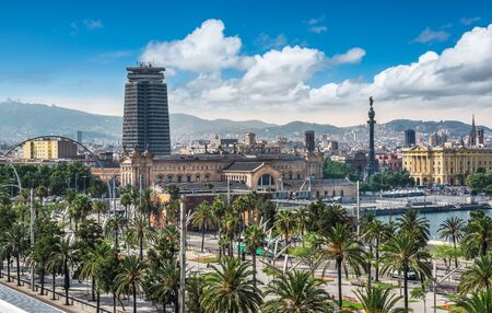 Barcelona, Spain. View of the city and Port Vell.