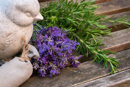 Fresh aromatic herb bundles and scented sachet decorated outside. Фото со стока - 150875005