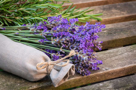 Aromatic lavender and rosemary herb sachet.