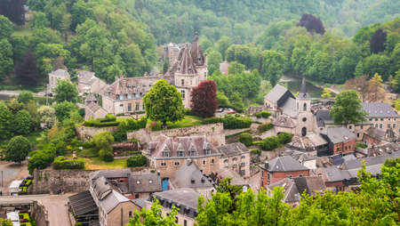 Durbuy, Walloon city in the Belgian province of Luxembourg. Beautiful medieval castle in the city center. Фото со стока - 150894353