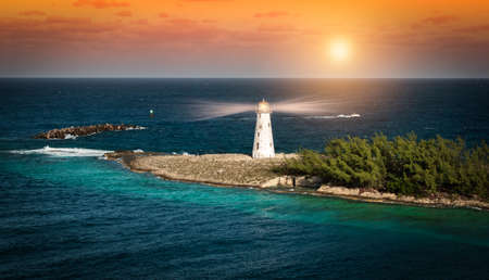 Lighthouse at sunset in Nassau, The Bahamas.