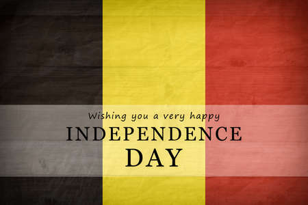 Belgium National flag background. Independence Day text card. Фото со стока - 152213369