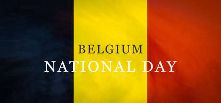 Belgium National Day flag background. Belgian tricolored flag banner. Фото со стока - 151597440