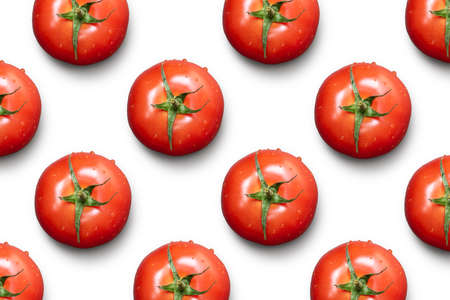 Tomato pattern isolated on white background.