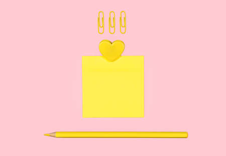Yellow school supplies on a pink background. Sticky note, colored pencil, paper clips and heart shaped clip. Modern minimalistic design. Flat lay. 版權商用圖片