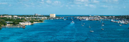 Panoramic view of Nassau harbor, The Bahamas.