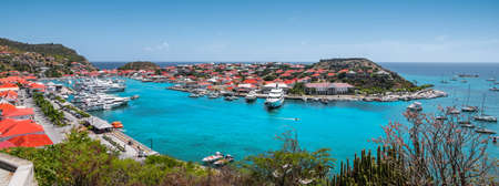 Panoramic harbor view of Gustavia, Saint Barthelemy.