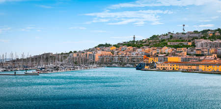 Panoramic harbor view and marina of Sete, port and seaside resort on the Mediterranean, Venice of Languedoc in Southern France.