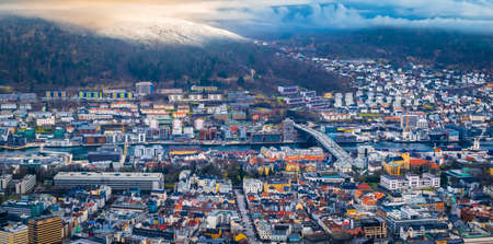 Cityscape of Bergen at sunset, Norway. Фото со стока