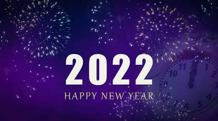 Happy New Year 2022 celebration greeting card with fireworks and faded clock on purple sky background. Фото со стока