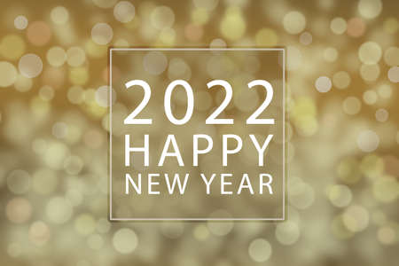 Happy New Year 2022 text gold magic background.
