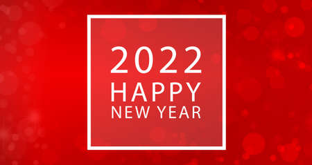 2022 Happy New Year text card with white frame and red defocused lights background.