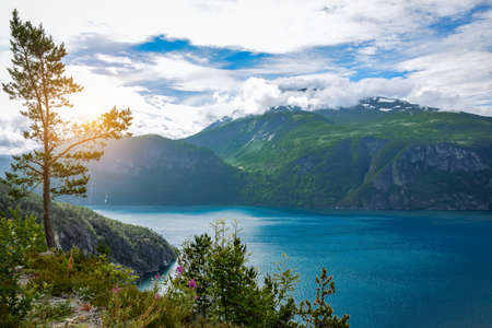 Fjords landscape, lake in Norway.