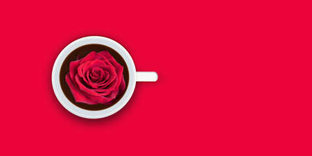 Red rose in cup of coffee on red background. Happy Valentine's day concept.