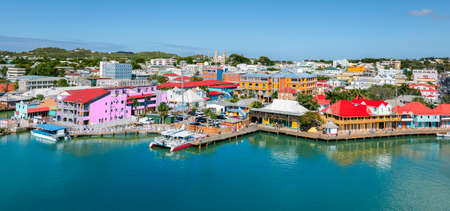 St John's, Antigua and Barbuda. Panoramic view of capital city, skyline and cruise port. Фото со стока